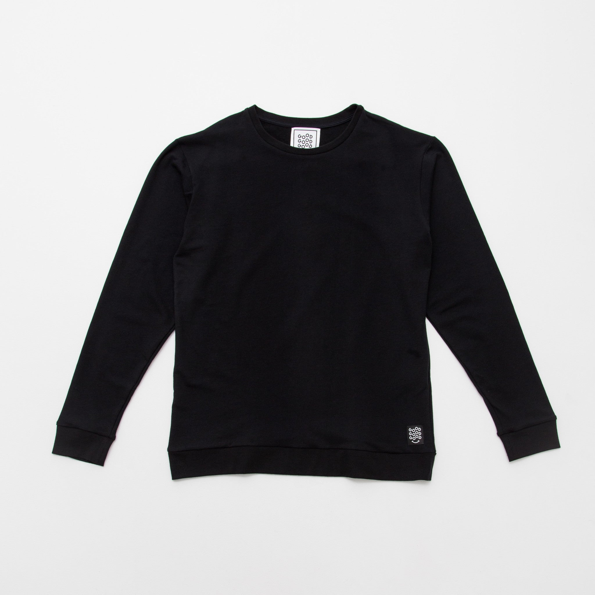 Good Good Good Crew Neck Sweater Front - Black - A Store