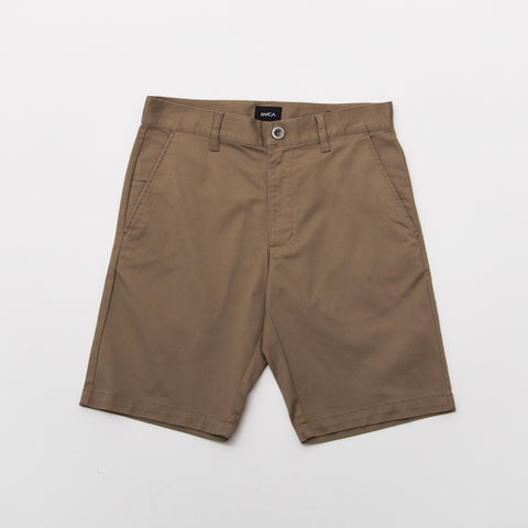 RVCA The Weekend Stretch Short Dark Khaki Front MC202WKS