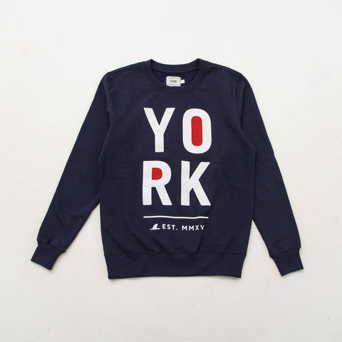 York Printed Crew Sweater - Navy