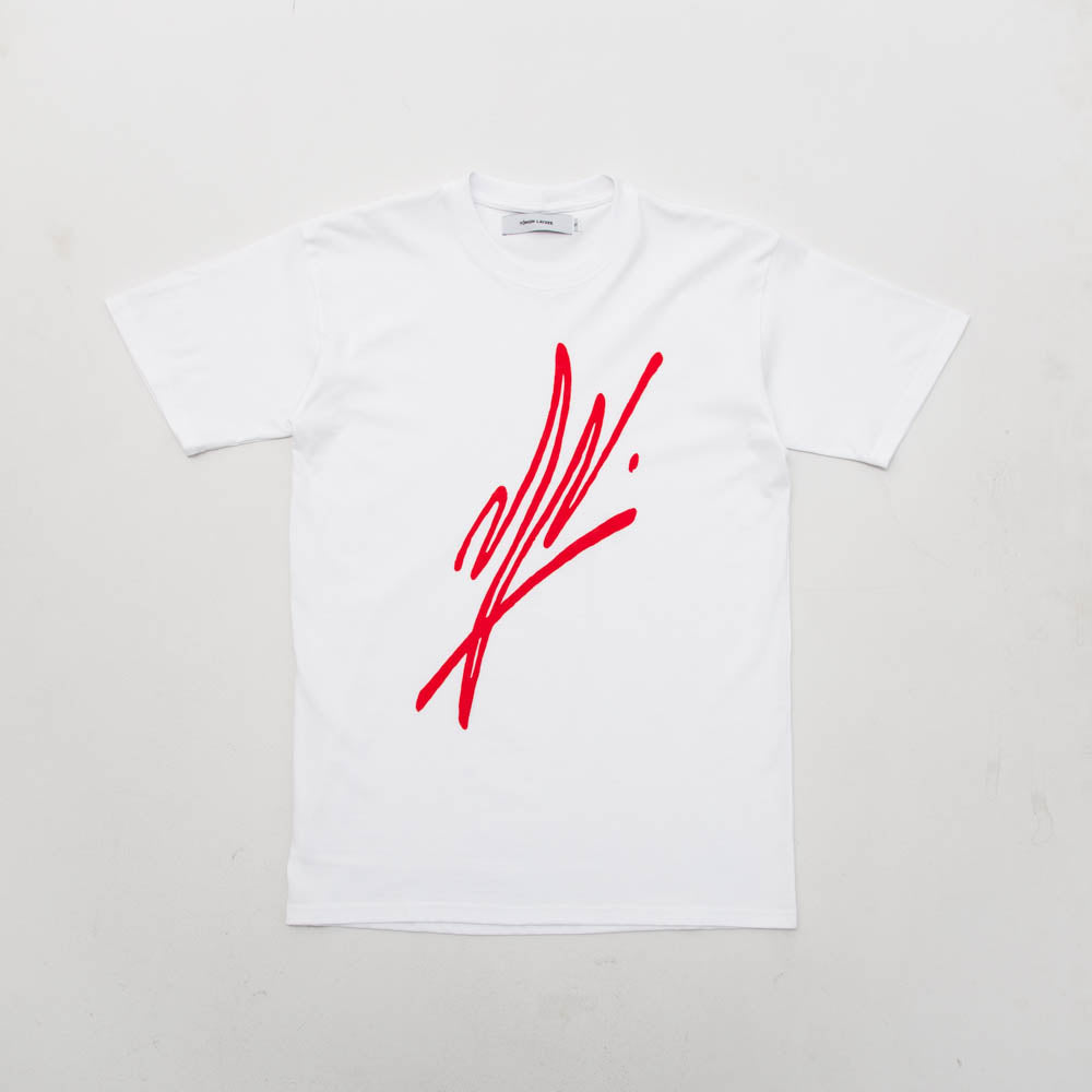 Slanted Signature Tee - White