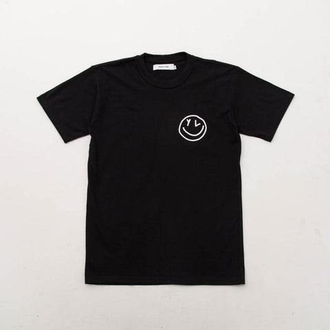 Young & Lazy Smiley Logo Tee - Black - Front | A Store