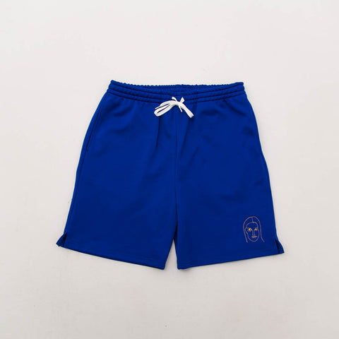 Young and Lazy Royal Gold Face Shorts - Blue - Front | AStore
