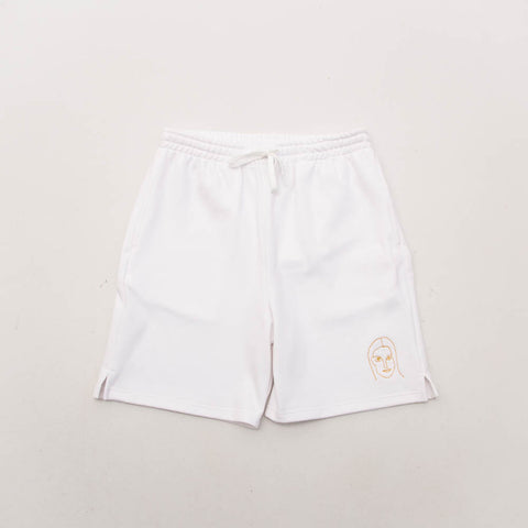 Young and Lazy White Girl Face Shorts - White - Front | Astore