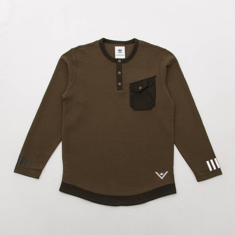 adidas White Mountaineering Long Sleeve Tee - Trace Olive BQ4116 - Front | AStore