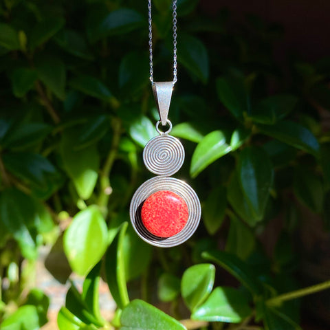 Peace Pendant: Coral (Sterling Silver) Spiral