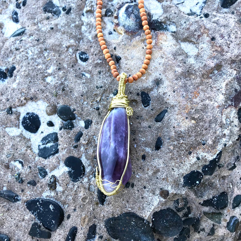 Intuition Amulet: Amethyst Sandalwood Necklace