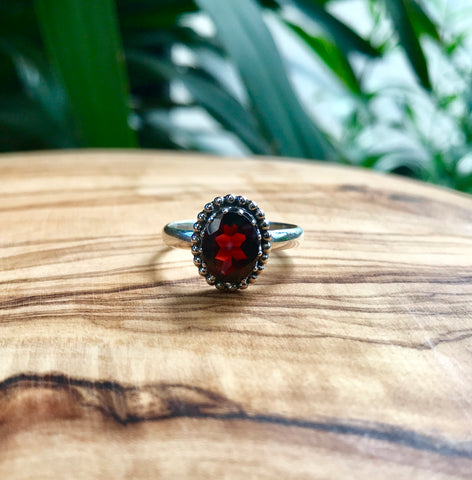 Garnet Oval Classic Sterling Silver Ring