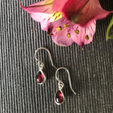 Garnet Sterling Silver Teardrop Earrings