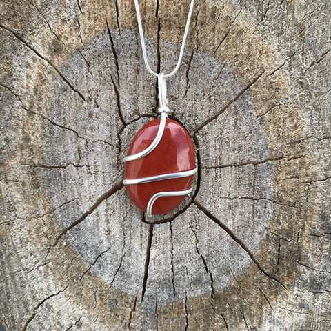 Red Jasper: Grounding Stone Cabochon Wired Pendant