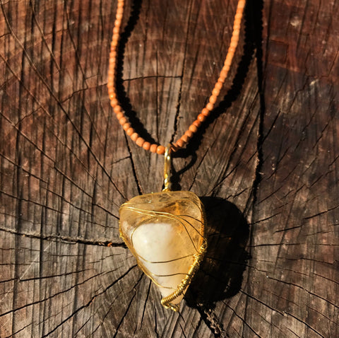 Happiness Amulet: Citrine Sandalwood Pendant
