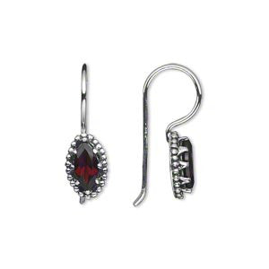 Garnet Vintage Sterling Silver Earrings
