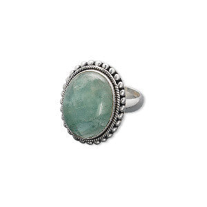 Aquamarine Antiqued Sterling Silver Ring