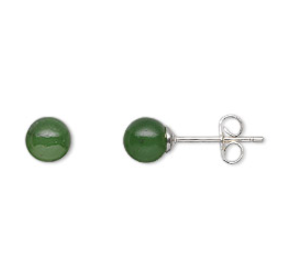 Nephrite Jade Sterling Silver Earrings