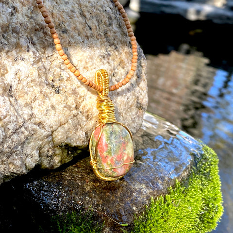 Cleansing and Releasing Amulet: Unakite (Sandalwood Pendant)