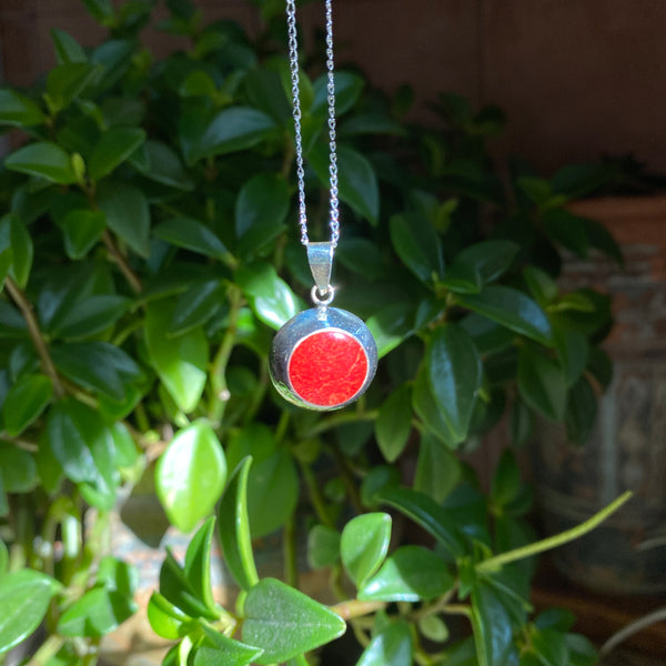 Peace Pendant: Coral (Sterling Silver) Round