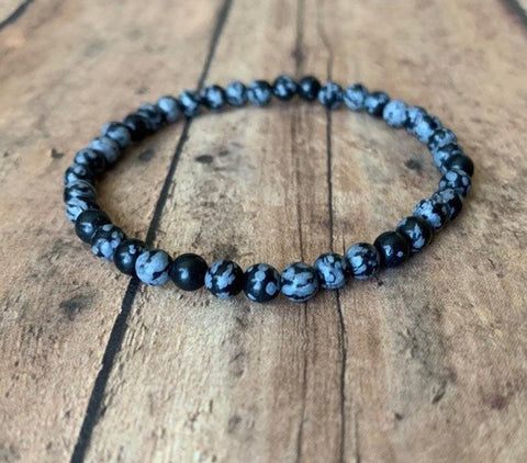 Personal Growth and Purity Bracelet: Snowflake Obsidian