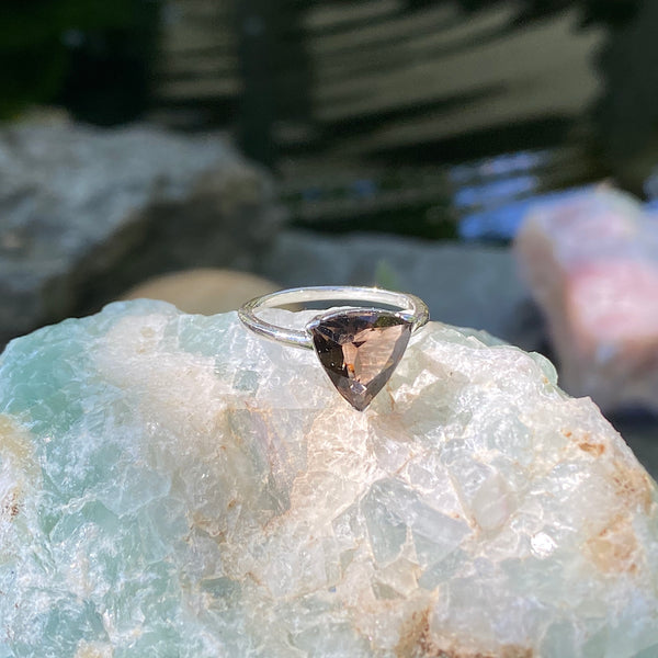 Willpower Sterling Silver Ring: Smokey Quartz