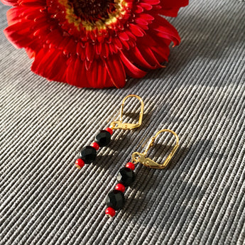 Protection Bead Earrings (Gold - 2 Tier)