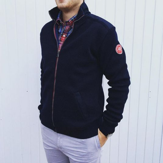 Gregor Full Zip Wool Windproof Navy Sweater