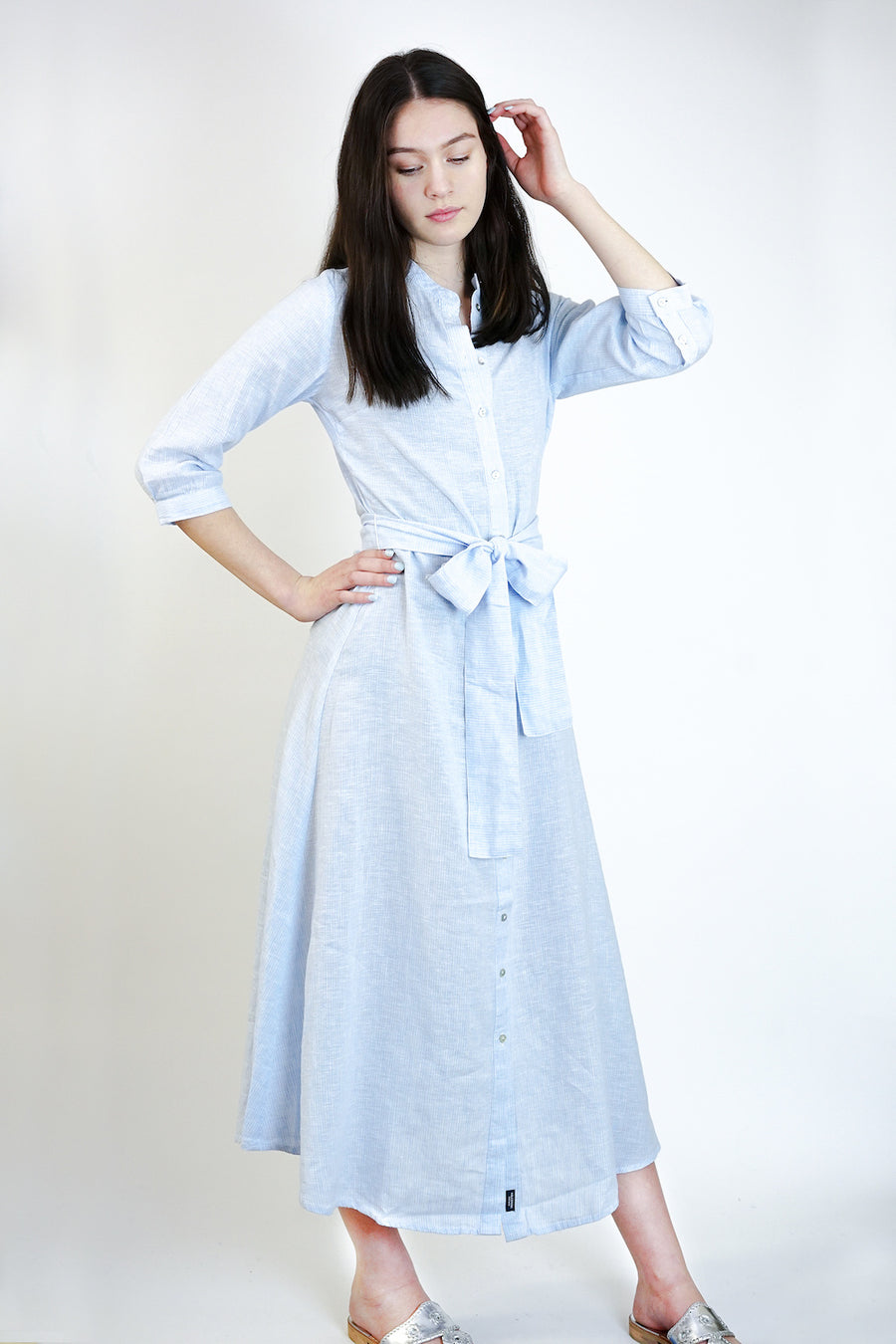 Ann Shirt Dress-Chambray Blue