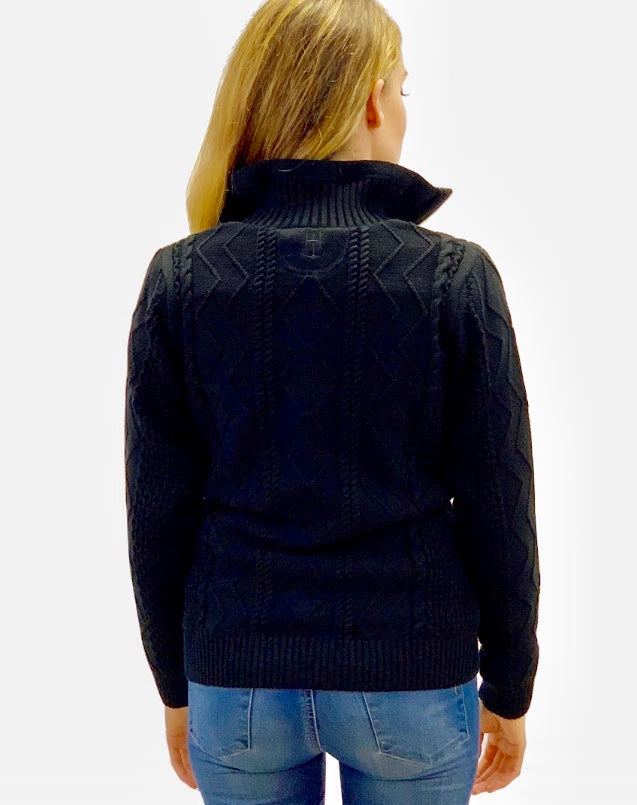 Holebrook Windproof Black Amy cotton sweater jumper