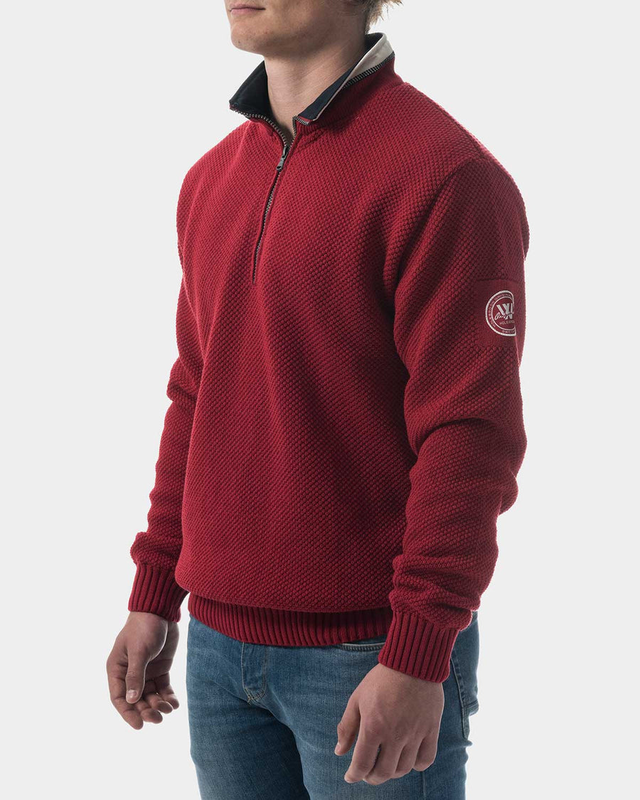 Classic Windproof red sweater 1/4 zip hot guy