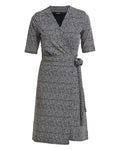 Elsa Wrap Dress Navy~White