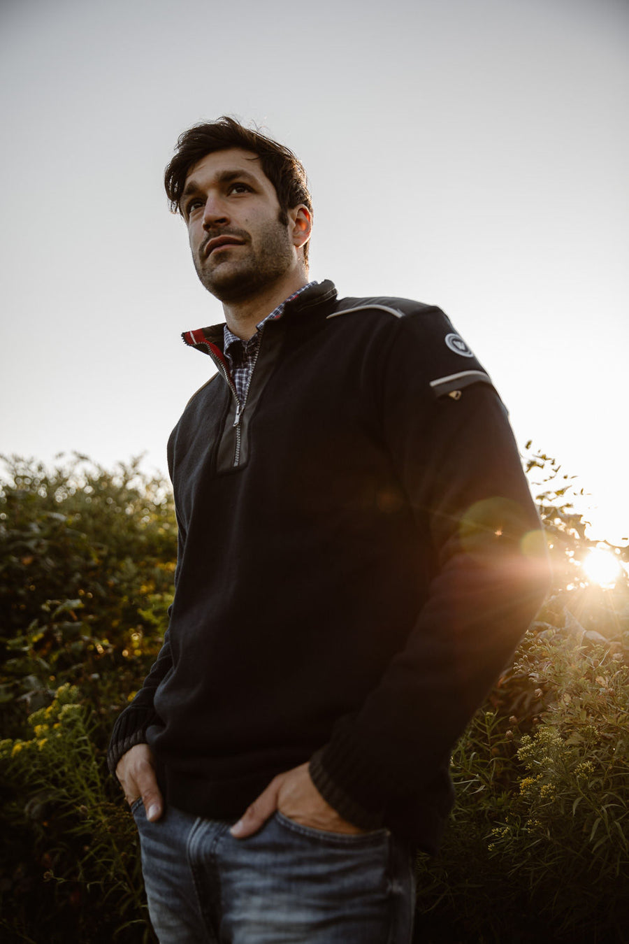 Josh 1/4 Zip Windproof-Navy
