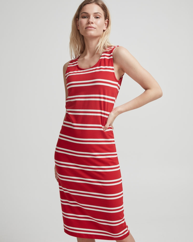 NatalieTank Dress- Scarlet /Off White