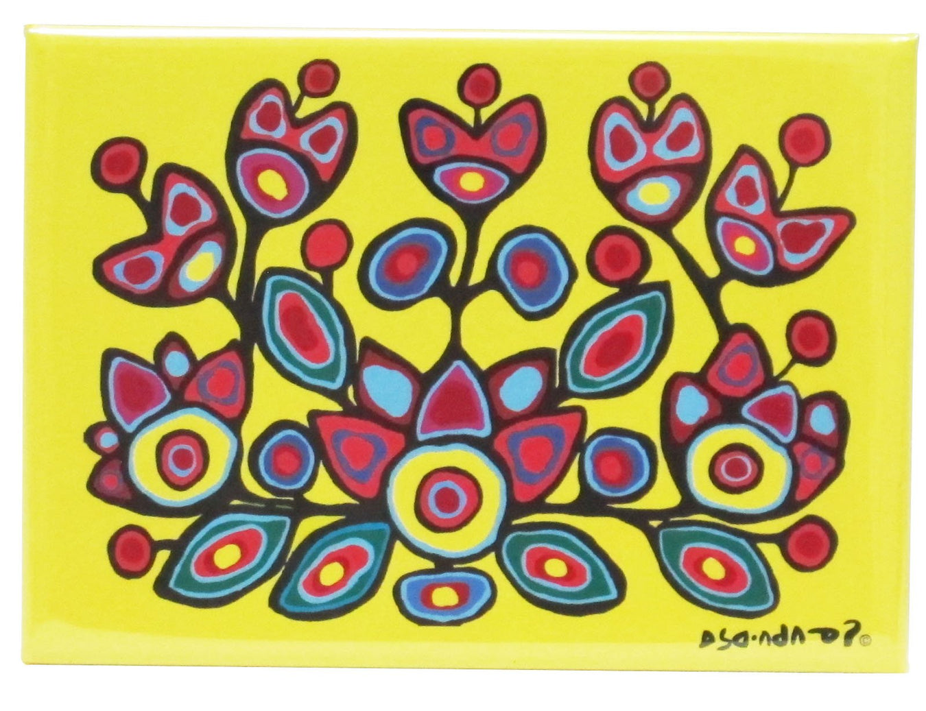 Norval Morrisseau Floral on Yellow
