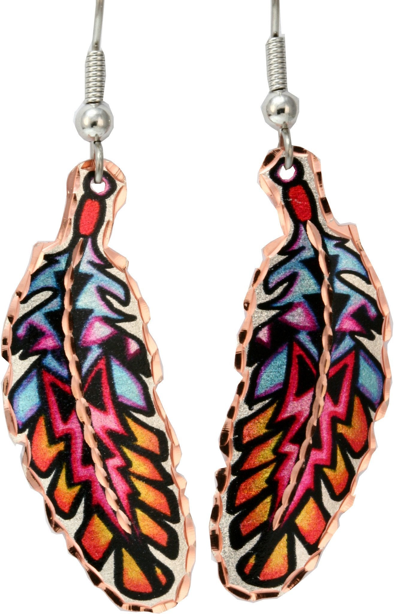 Colourful Lynn Bean Feather Earrings