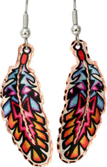 Colourful Lynn Bean Feather Earrings - Oscardo
