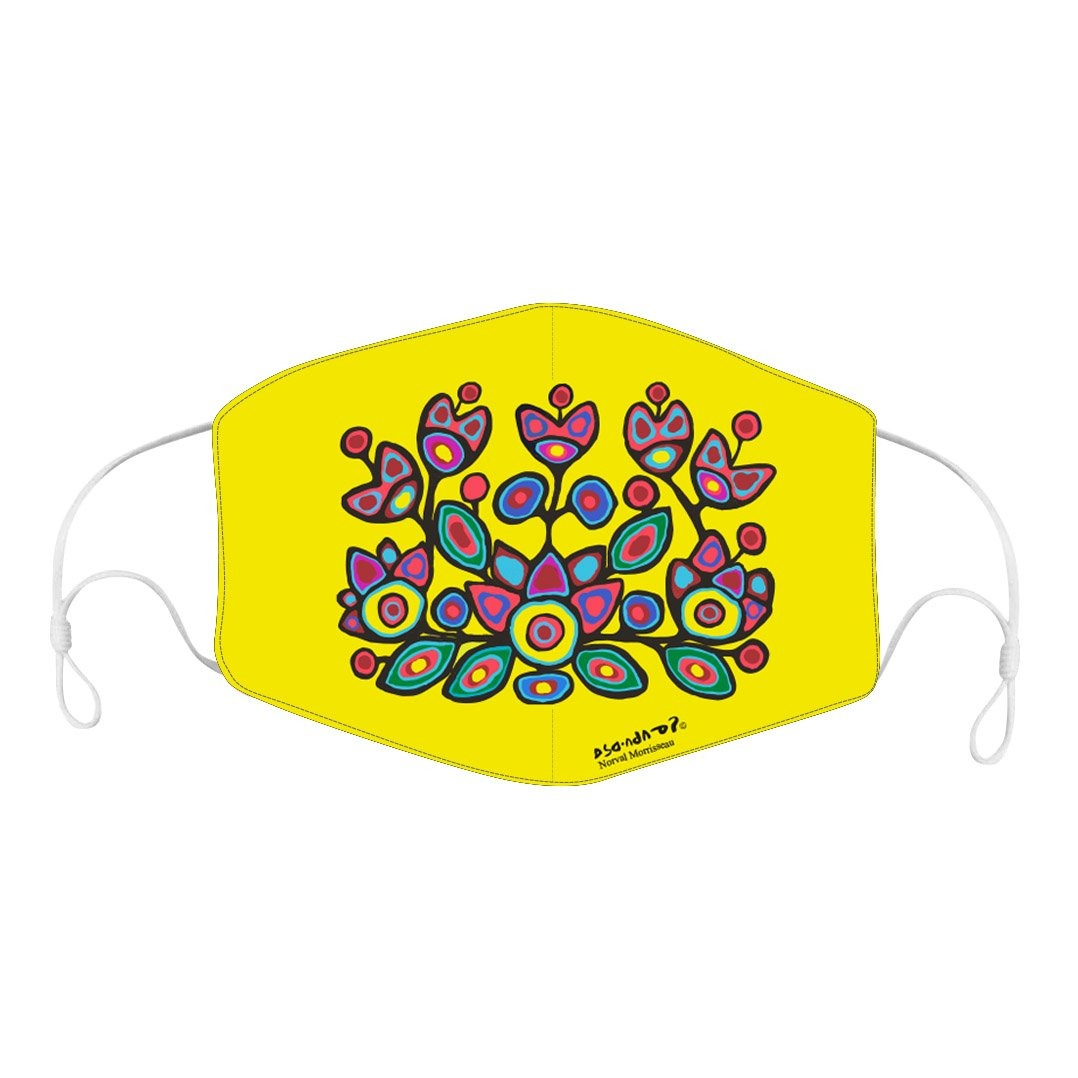 Norval Morrisseau Floral on Yellow Reusable Face Mask - available on August 25th