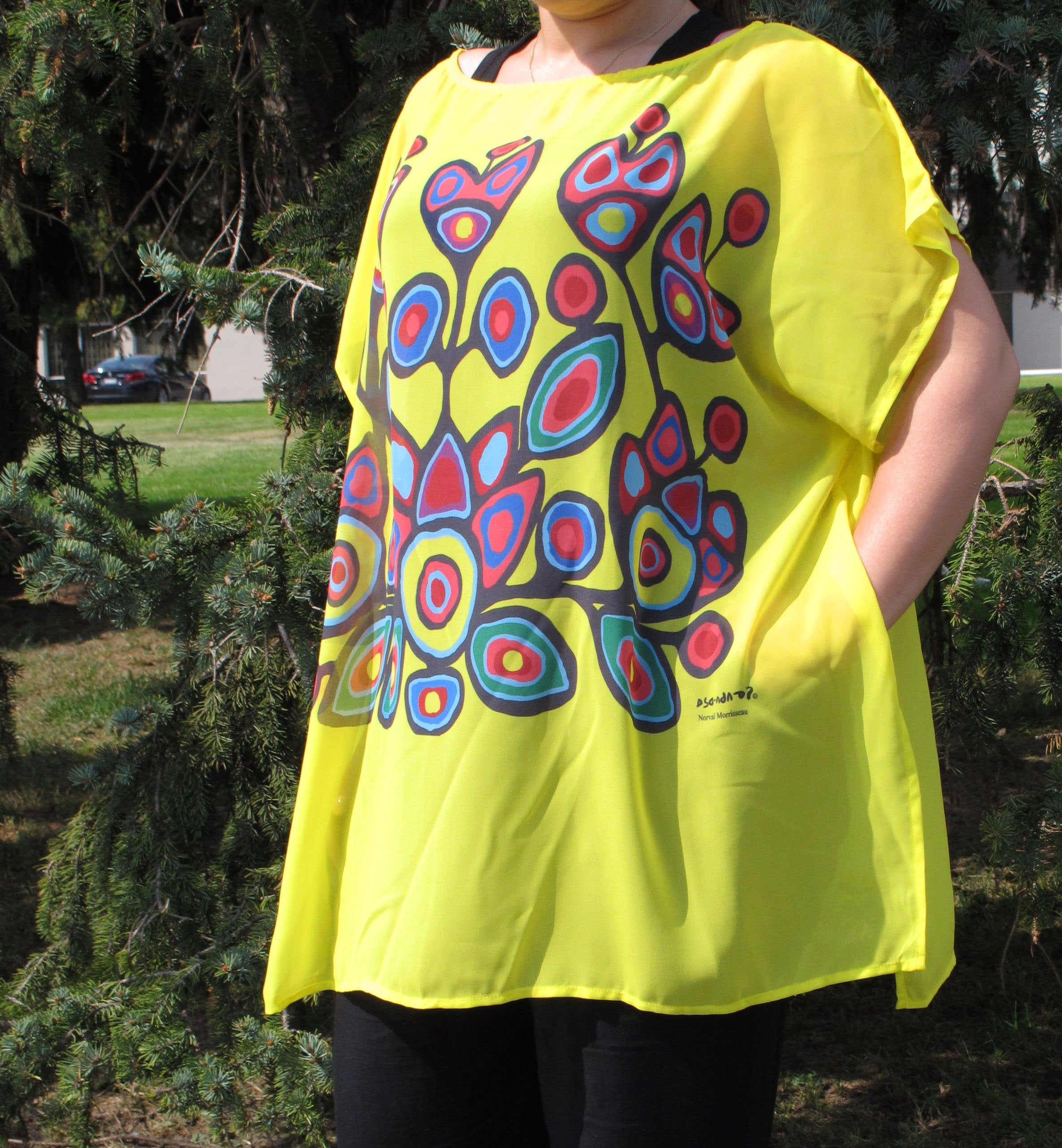 Norval Morrisseau Floral on Yellow Poncho Blouse