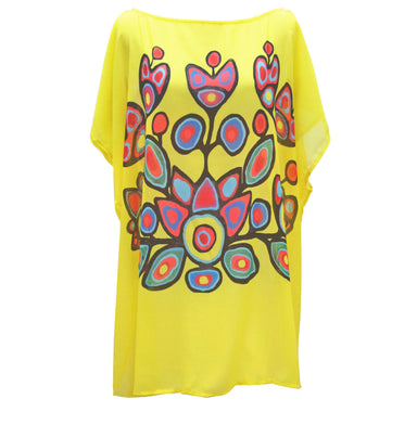 Norval Morrisseau Floral on Yellow Poncho Blouse - Oscardo