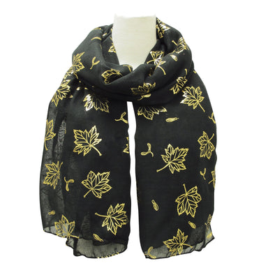 Maple Leaves Metallic Print Scarves Black - Oscardo