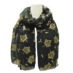 Maple Leaves Metallic Print Scarves Black