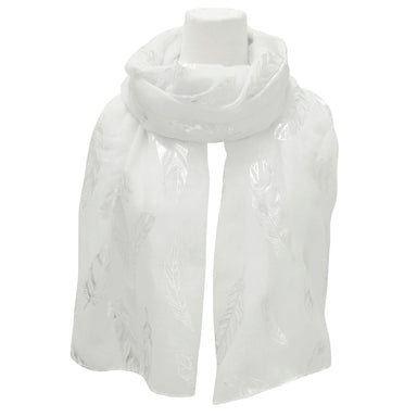 Feathers Metallic Print Scarves White - Oscardo
