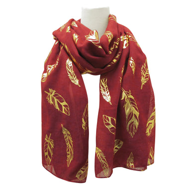 Feathers Metallic Print Scarves Wine - Oscardo