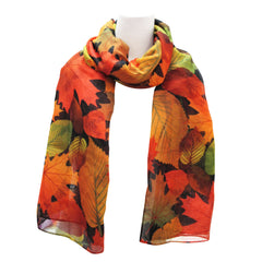 Fall Leaves Black Scarf