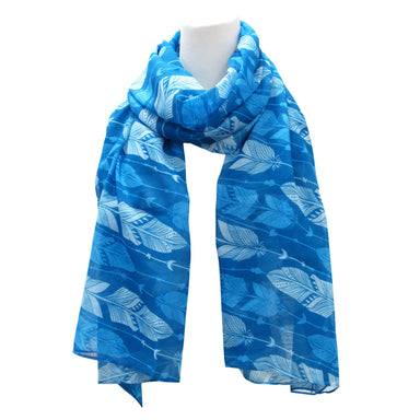 Feathers Blue Scarf - Oscardo