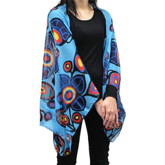 Norval Morrisseau Flowers and Birds Cape Scarf
