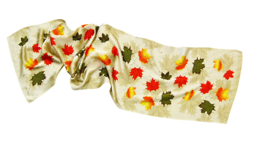 Ruth Lund Triple Leaves Silk Oblong Scarf