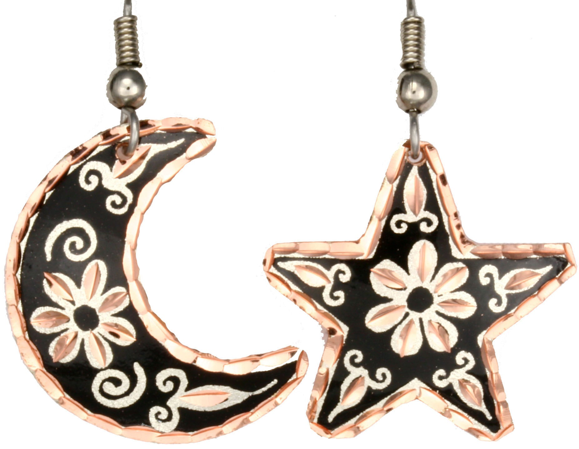 Moon & Star Copper Earrings