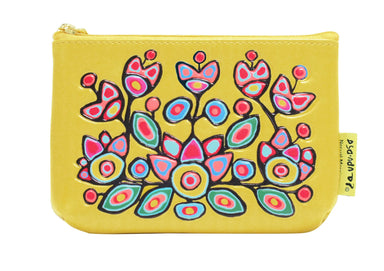 Norval Morrisseau Floral on Yellow Coin Purse - Oscardo