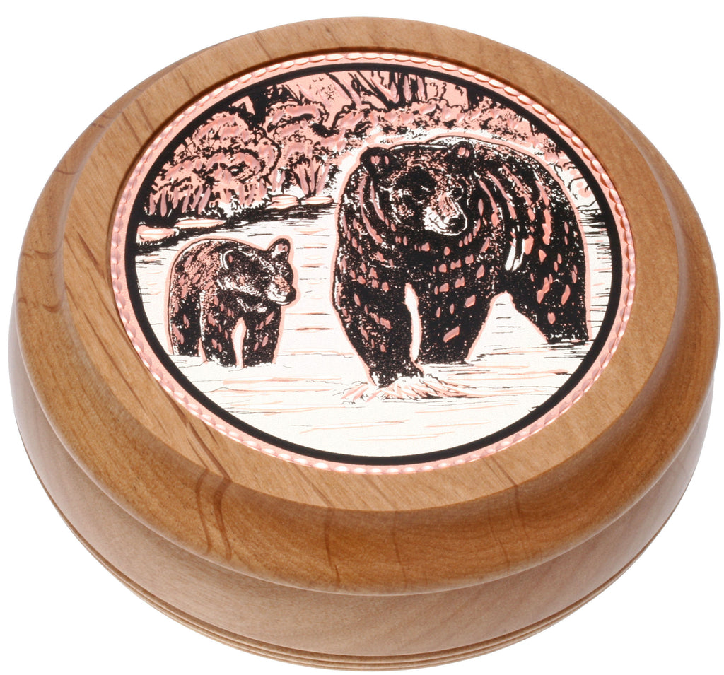 Bear and Cub Round Wood Box