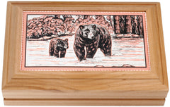 Bear and Cub Rectangular Wooden Box