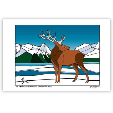 Jason Carter The Turning Elk at Winter Art Card - Oscardo