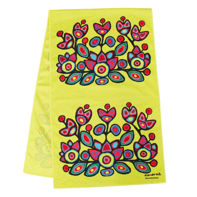 Norval Morrisseau Floral on Yellow Cooling Towel - Oscardo