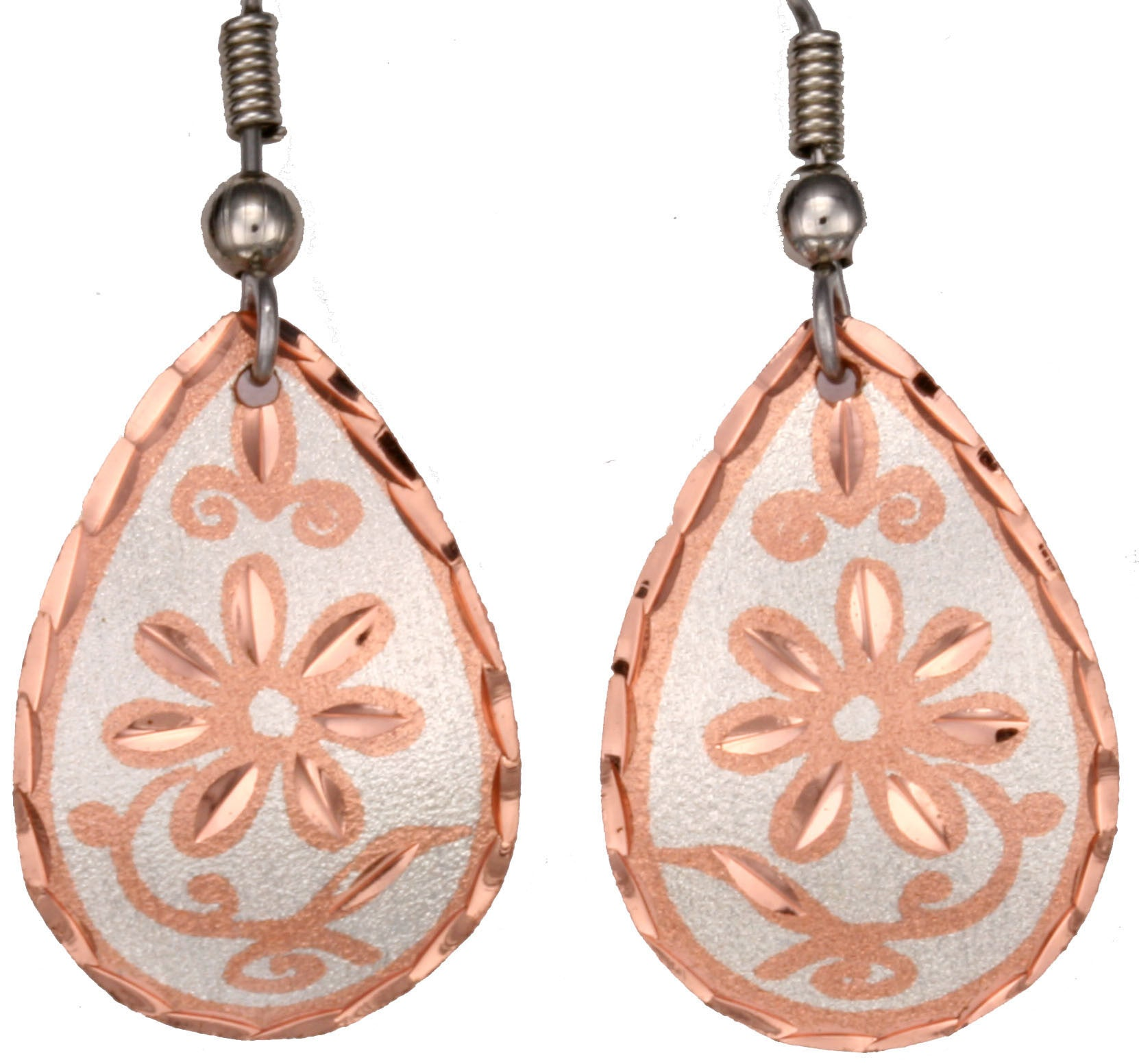 Floral Designsp Copper Earrings